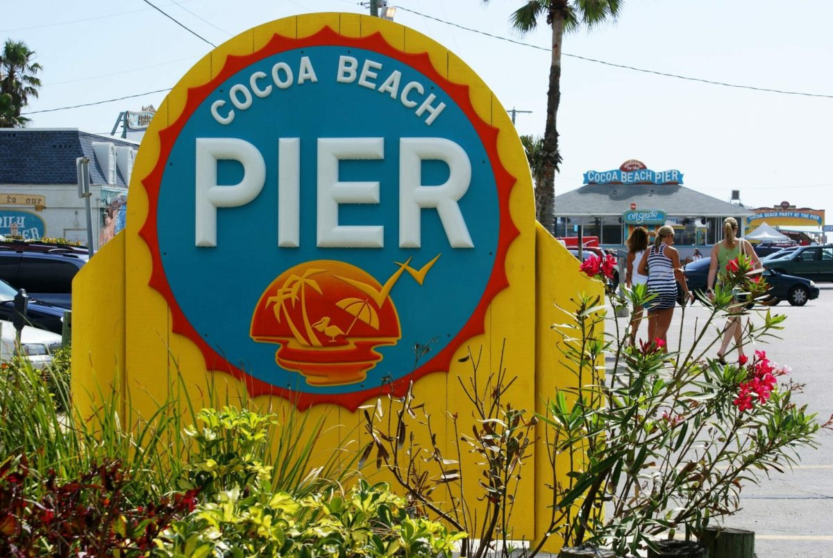 Cocoa Beach Pier sign in Cocoa Beach, Florida