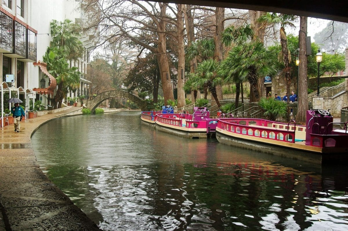 San Antonio Riverwalk boats in the rain
