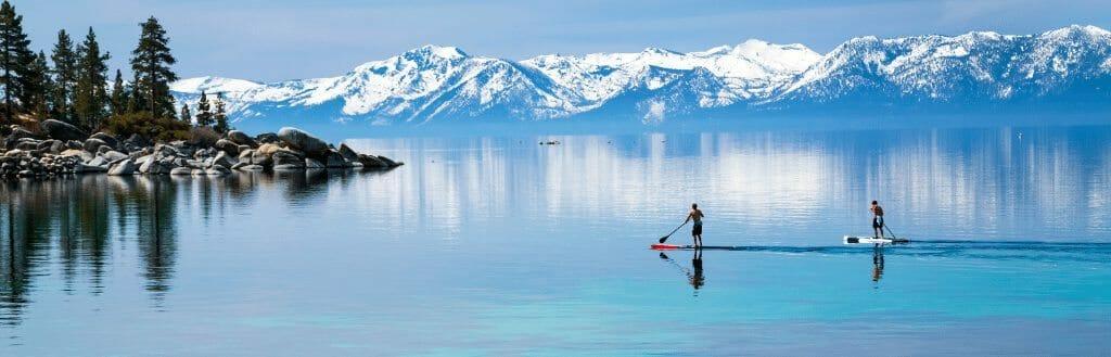 paddle board on lake Tahoe