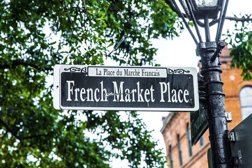 Streetsign French Market place in New Orleans in french Quarter