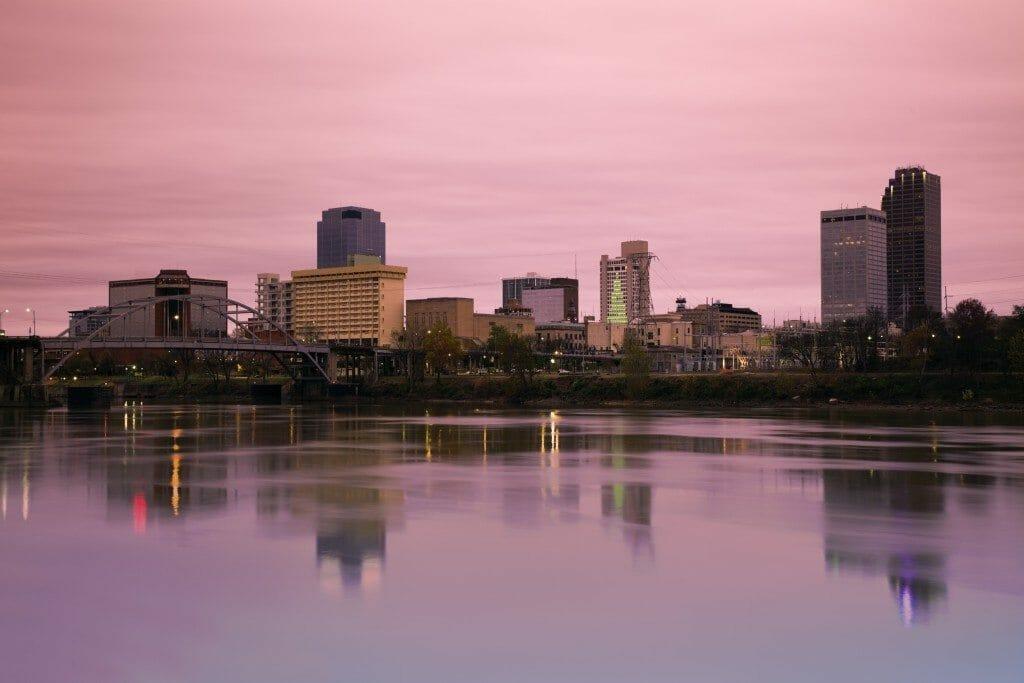 Sunrise in Little Rock, Arkansas. Morning time.