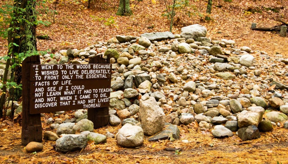 This National Historic Landmark is the site of Henry David Thoreau's original cabin along Walden Pond in Concord, MA. Now known as the cairn, visitors traditionally leave a rock on the site to honor Thoreau.