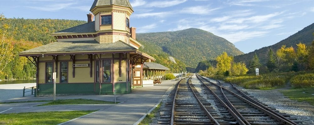 Crawford Depot along the scenic train ride to Mount Washington, New Hampshire