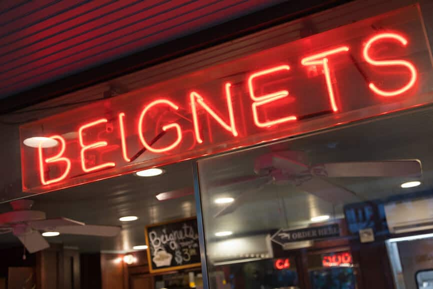 Beignets Neon Sign in New Orleans, Louisiana Bakery