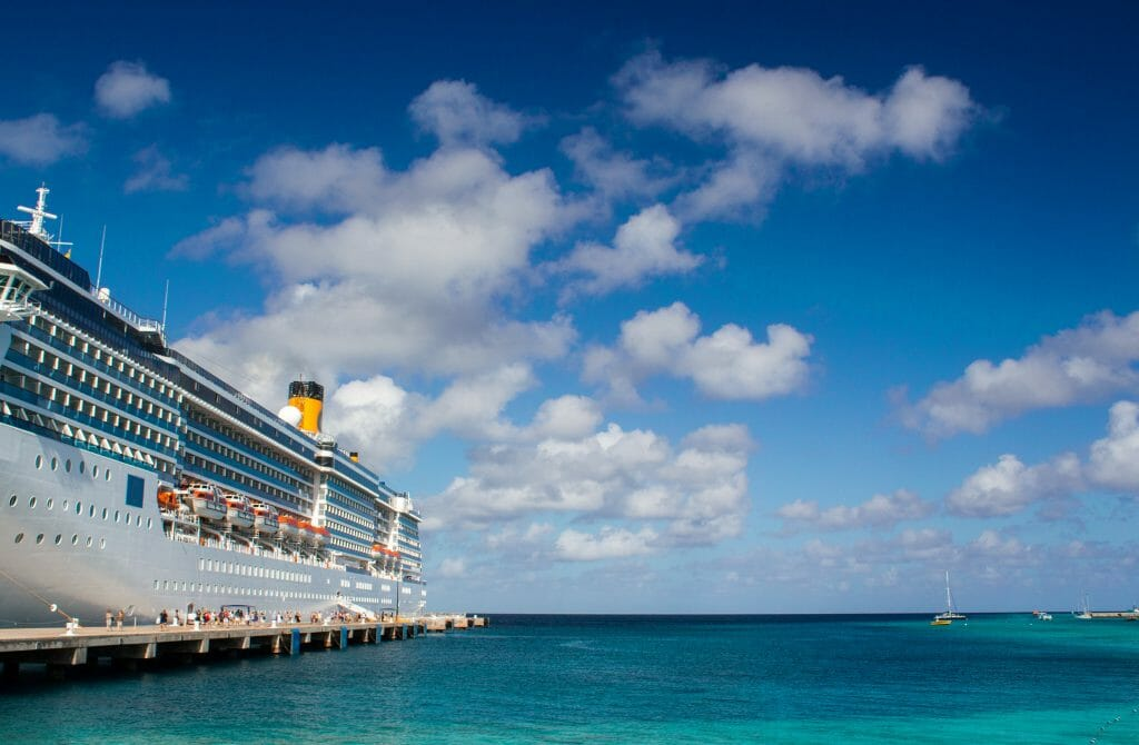 Blue sky over Cruise Ship.