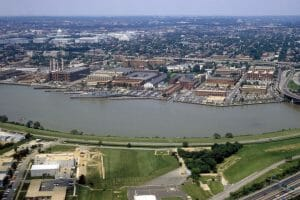 Aerial view of the Washington Navy Yard.  The Forest Sherman class destroyer ex-USS BARRY (DD 933) is visible, center.