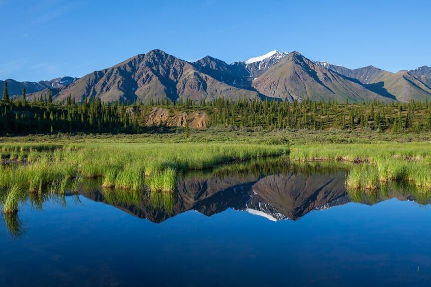 Mckinley reflection on the lake in Alaska Stockfresh