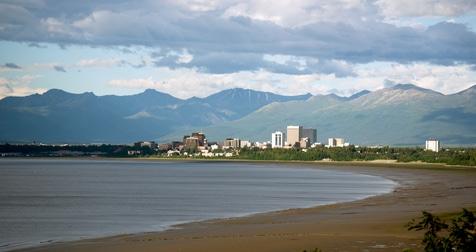 Sandy beach bay Anchorage Alaska downtown city skyline