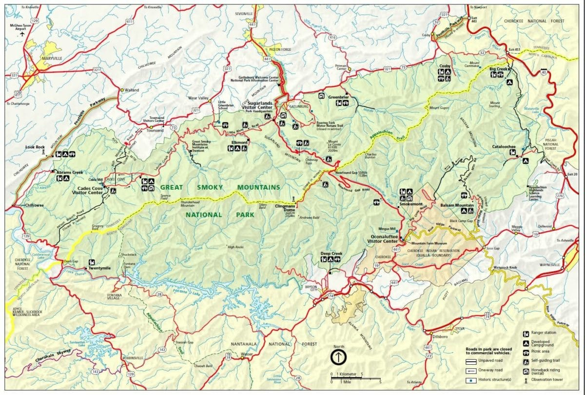 Great Smoky Mountain National Park Map - NPS