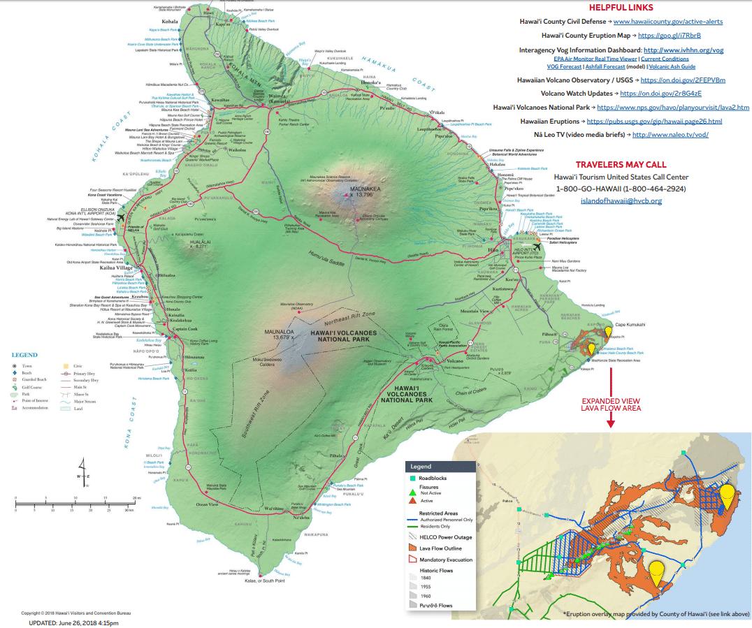 Island of Hawaii with Volcano Updates - Credit The Hawaiian Islands