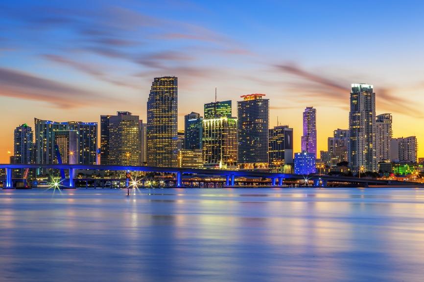 Famous cIty of Miami, Florida, summer sunset, USA