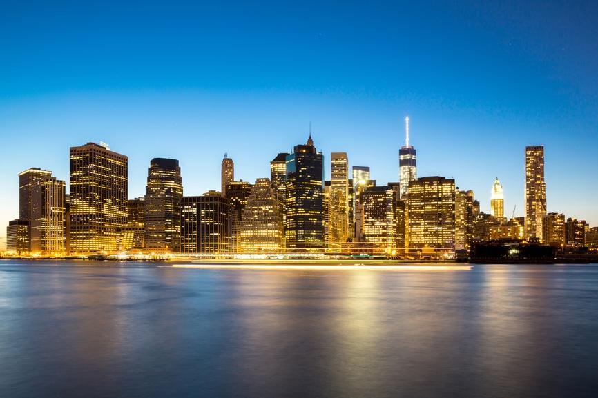 New York City Manhattan skyline at dusk from Brooklyn